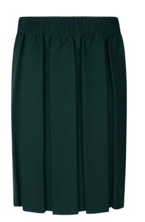 BOX PLEATED SKIRT - BOTTLE, Skirts & Pinafores